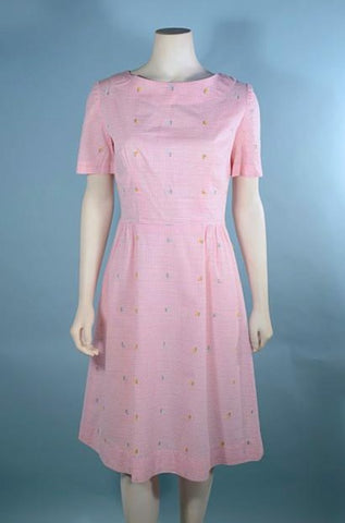 Vintage 60s Pink Preppy Embroidered Day Dress, Short Sleeve Eyelash Details Fitted 26.5
