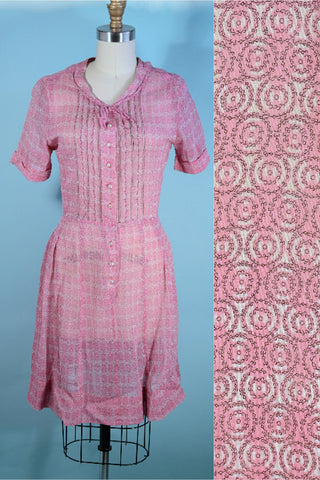 Vintage 40s Pink Dress + Pearl Buttons, Short Sleeve, Semi Sheer 27