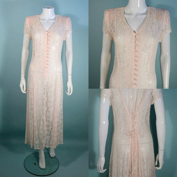 Vintage Sheer Lace Pale Pink Midi Dress, Corset Lace up Back, Boho Sheer Lace Short Sleeve Long Party Day Dress, Wedding Attire