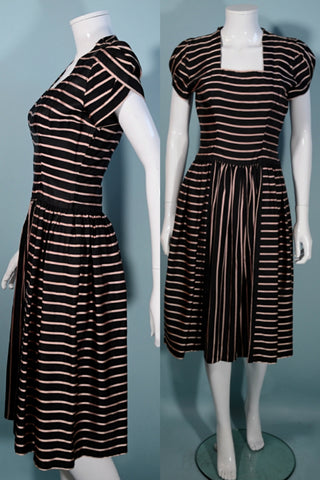 Vintage 40s Pink Black Striped Party Dress, Short Petal Sleeves,  Aldrich Original 25