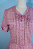 Vintage 40s Pink Print Sheer Day Dress, Pearl Buttons, Short Sleeves 27