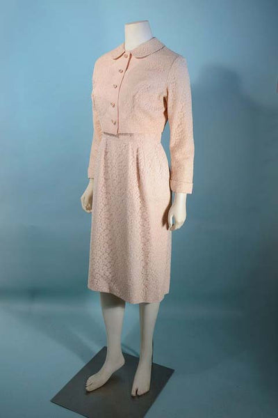 Vintage 50s Pink Lace Strappy Dress + Jacket, Cocktail Party Suit Rhinestone Buttons,  25