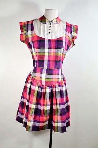 Vintage 50s Pink Plaid Preppy Mini Dress + Peter Pan Collar, Cap Sleeve Rhinestone Buttons XS