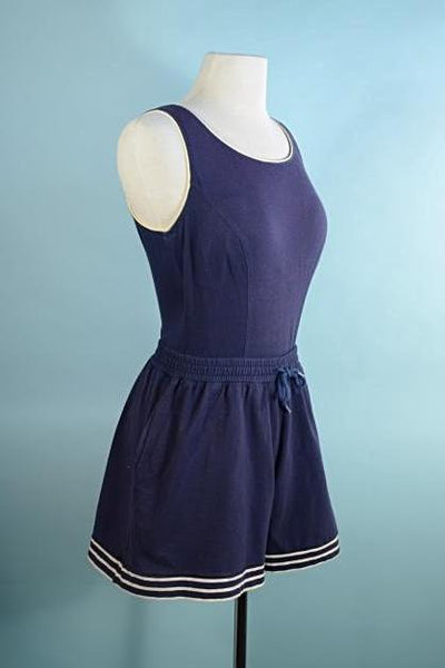 Vintage 80s Blue Romper Playsuit, Low Back Beachwear Shorts Onsie Jumper M