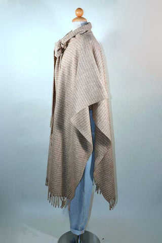 Vintage 60s Cream Taupe Wool Herringbone Cape, Preppy Hippie Poncho + Fringe Scarf One Size