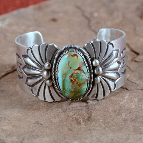 Ray Bennett Navajo Sterling Silver Turquoise Masterpiece Bracelet, Native American Cuff 89.4 Grams