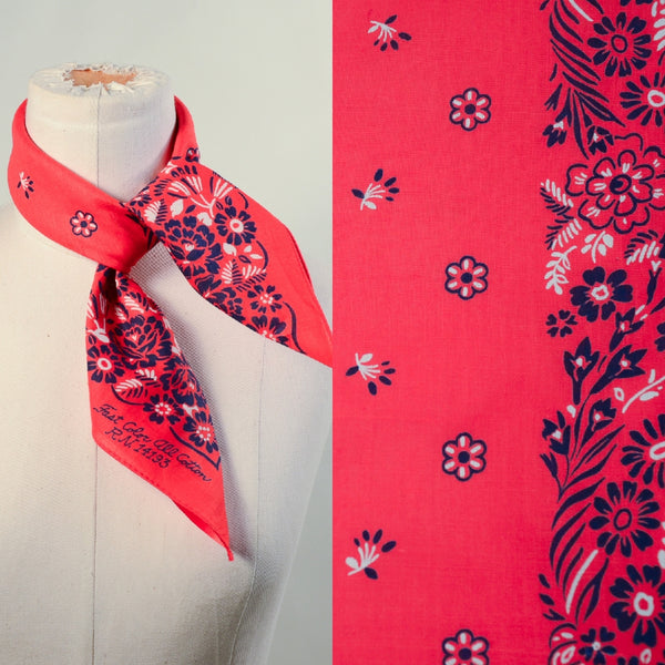 Vintage 60s Red Blue Floral Print Bandana, Country Western Americana Neck Scarf NOS