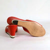 Vintage 60s Red White Leather Slip On Wedge Peep Toe Sandal, Mod Slip on Mule 9M