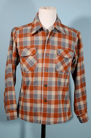 Vintage Pendleton Wool Plaid Board Shirt, Rust Grey Bias Pockets, Needs TLC Size M