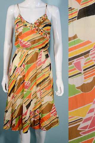 Vintage 70s Spaghetti Strap Dress, Sailboats Print, Bias Cut Midi 23-27