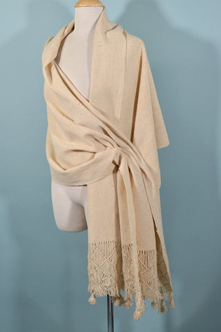 Vintage 70s Cream Color Woven Wool Scarf/Shawl w/Fringe + Tassels, Boho Winter Scarf
