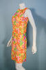 Vintage 60s Bright Yellow Floral Summer Shift Mini Dress S