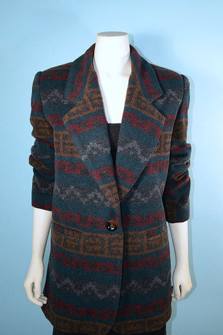 Vintage 80s Southwestern Indian Blanket Style Jacket, Country Western Ethnic Tribal Blazer L