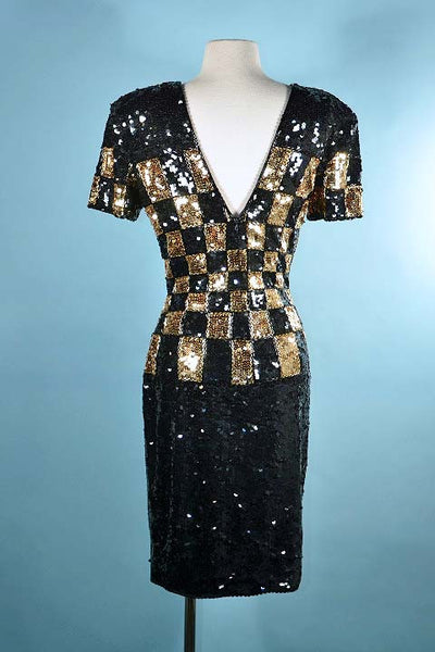 Black Gold Sequin Dress by Tadashi