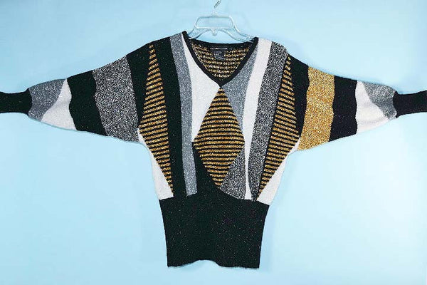 Vintage 70s Sparkle Black Gold Silver Disco Party Sweater, V Neck Batwing Sleeves S
