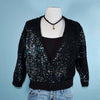 Vintage 50s Sequin Sweater, Rockabilly Sparkle Top, Party Evening Wear Wrap M