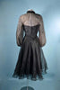 Vintage 50s Black Sheer Cocktail Party Dress Rhinestone Accents, Sheer Full Sleeves, 25