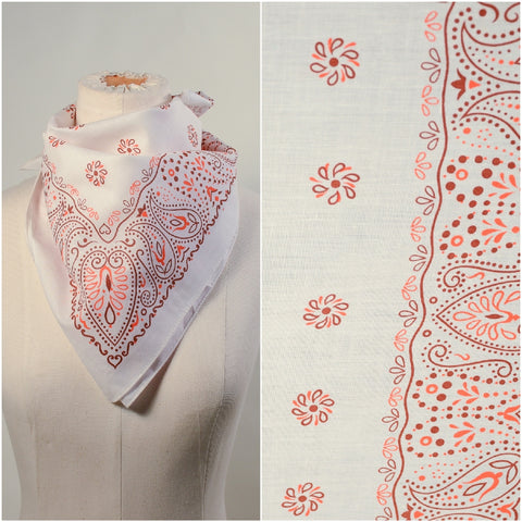 Vintage 60s White Orange Brown Paisley Print Bandana, Country Western Neck Scarf NOS