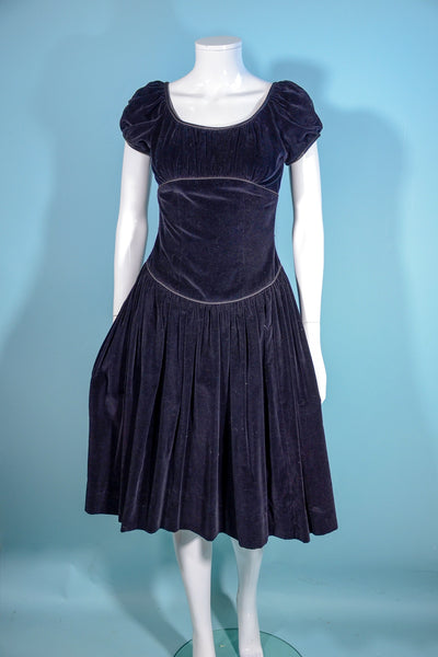 Teena Paige Vintage 50s Black Velvet Party Dress, Fitted Waist Puff Sleeves Fit and Flare XS