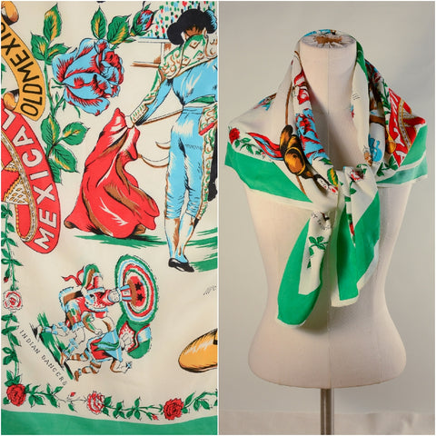 Vintage 1950s Novelty Print Mexico Souvenir Silk Scarf Bullfighter Dancers Pottery