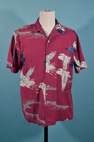 Vintage Union Bay Burgundy Crane Asian Hawaiian Aloha Camp Shirt M