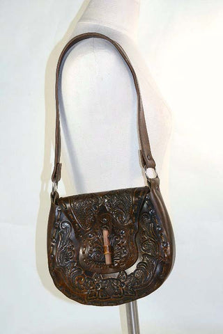 Vegan Tooled Leather Style Boho Handbag, Western Southwestern Shoulder Bag, Man Made Materials
