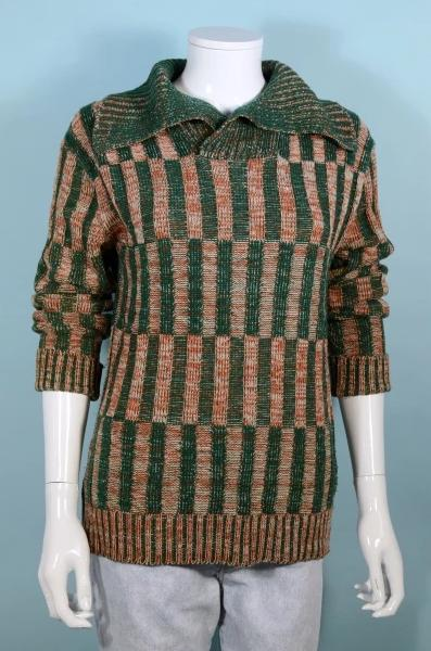 Vintage 60s Ribbed Knit Green Rust Sweater, Pullover Beatnik Hipster Long Sleeve Top