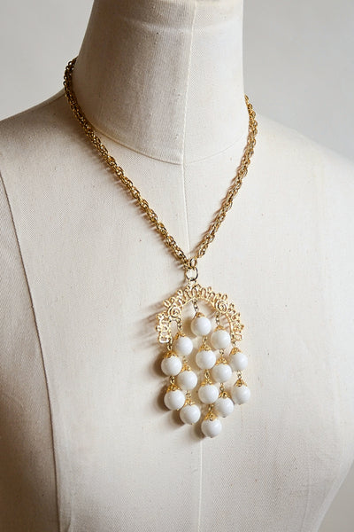 Vintage 70s Chandelier Pendant Necklace with White Beads, Filigree Details Boho Costume Jewelry