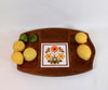 Vintage 70s Wood Tray with Tile Center Piece, Mid Century Serving Platter with Divided Compartments
