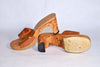 Vintage 40s Carved Wood Sandal WW II Era Souvenir, Slide Mule Leather Top Rockabilly