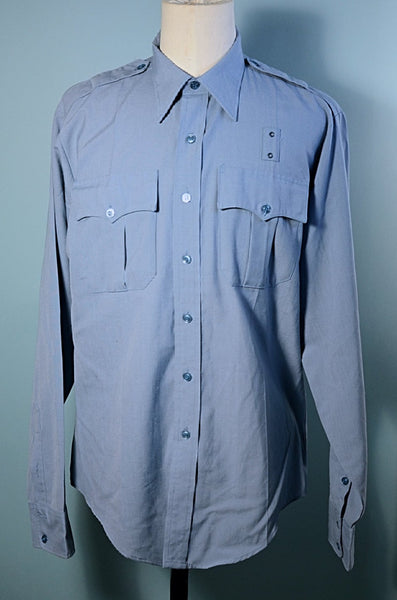 Vintage Blue Uniform Military Police Safari Style Shirt, Epaulets Costume Prop L/XL