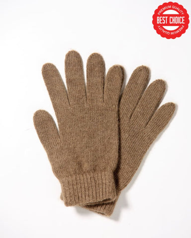 Camel wool gloves - dark beige - Homadic