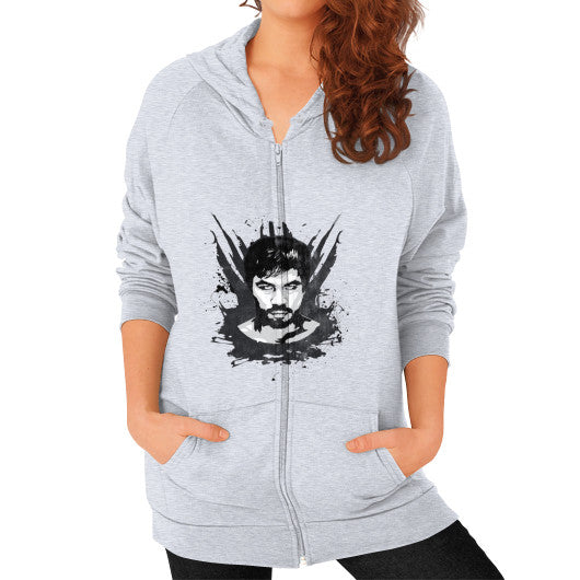 Weathered Logo Zip Hoodie (Womens) Heather grey Pacquiao Gear