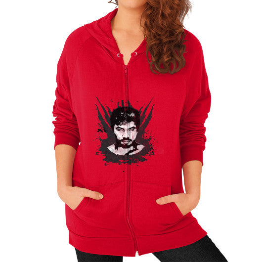 Weathered Logo Zip Hoodie (Womens) Red Pacquiao Gear
