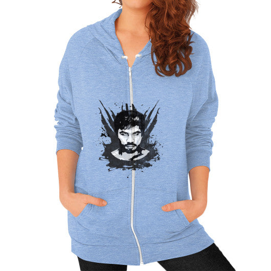 Weathered Logo Zip Hoodie (Womens) Tri-Blend Blue Pacquiao Gear