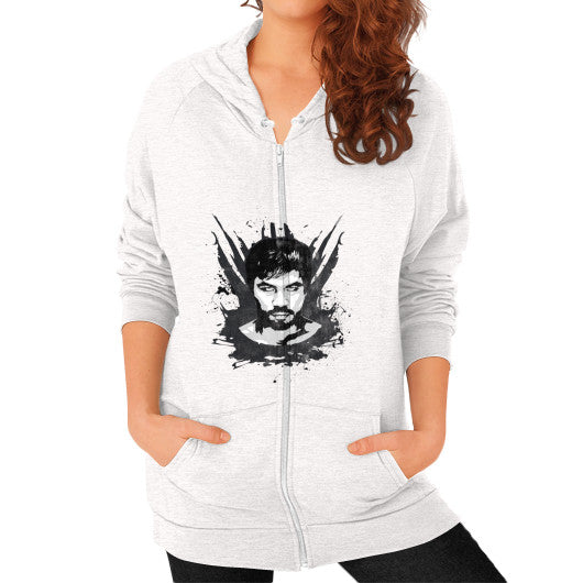 Weathered Logo Zip Hoodie (Womens) Tri-Blend Oatmeal Pacquiao Gear