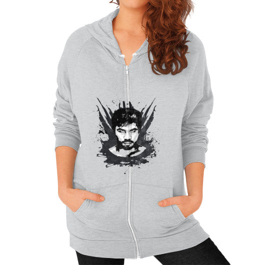 Weathered Logo Zip Hoodie (Womens) Tri-Blend Silver Pacquiao Gear