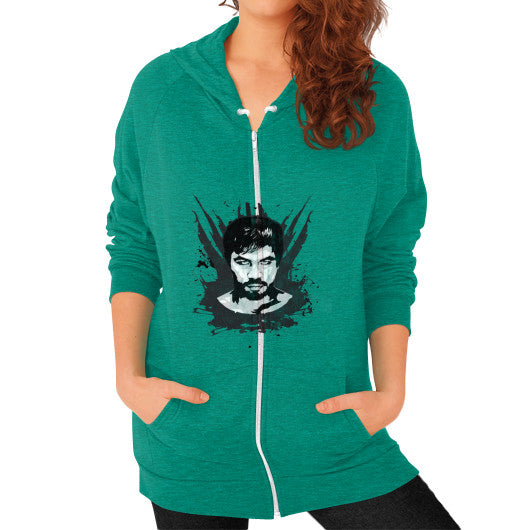 Weathered Logo Zip Hoodie (Womens) Tri-Blend Vintage Green Pacquiao Gear