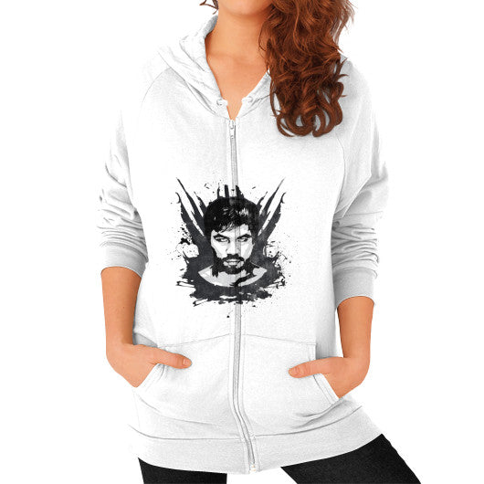 Weathered Logo Zip Hoodie (Womens) White Pacquiao Gear