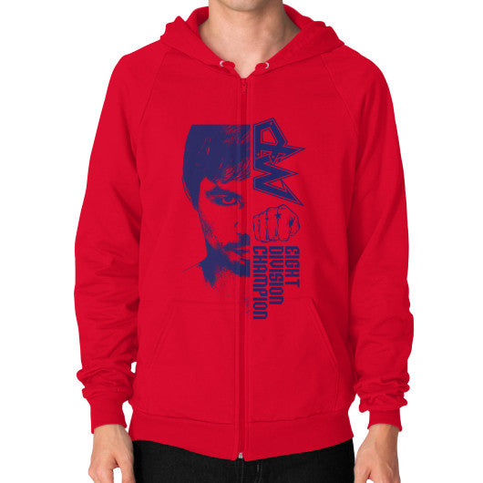 Zip Hoodie (on man) Red Pacquiao Gear