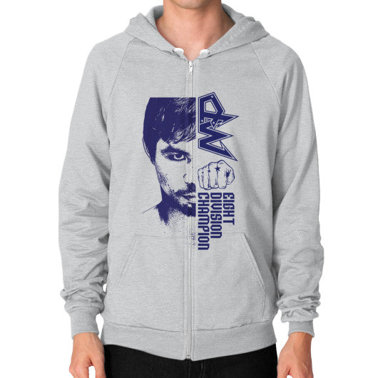 Zip Hoodie (on man) Tri-Blend Silver Pacquiao Gear