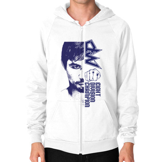 Zip Hoodie (on man) White Pacquiao Gear