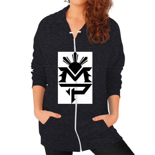 Zip Hoodie (on woman) Tri-Blend Black Pacquiao Gear