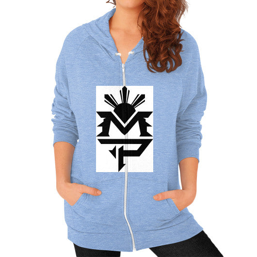 Zip Hoodie (on woman) Tri-Blend Blue Pacquiao Gear