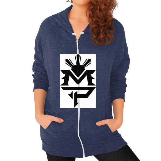 Zip Hoodie (on woman) Tri-Blend Navy Pacquiao Gear
