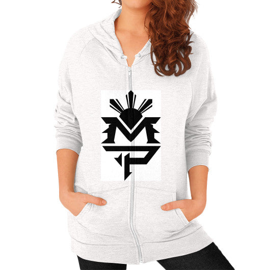 Zip Hoodie (on woman) Tri-Blend Oatmeal Pacquiao Gear