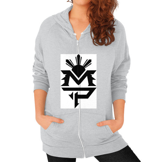 Zip Hoodie (on woman) Tri-Blend Silver Pacquiao Gear