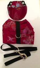 Maroon brocade Harness, Hat & Lead set