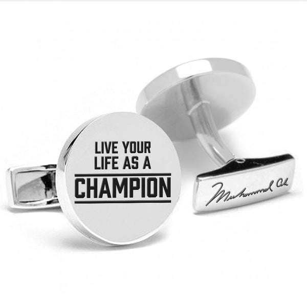 Licensed <b>Muhammad Ali™</b> Round Cufflinks with Inspirational Quote - Choose Your Ali Quote