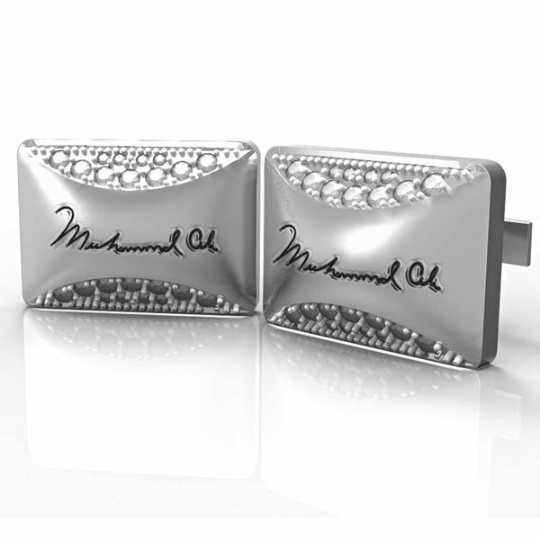 Licensed <b>Muhammad Ali™</b> Rectangle Cufflinks with Stones and Signature